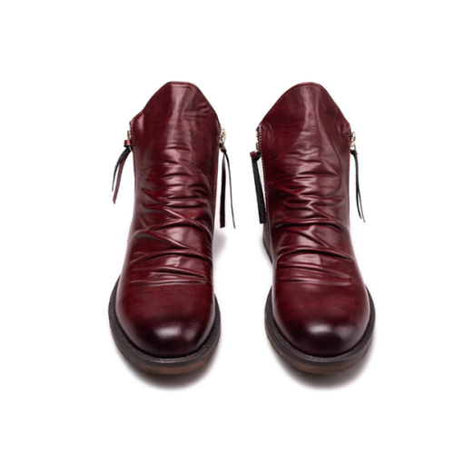 Men's Boots with Double Side Zip and Anti-Skid Tassels
