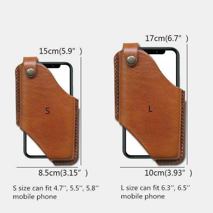 Men EDC Genuine Leather 6.5 Inch Phone Holder Phone Case Waist Belt Bag
