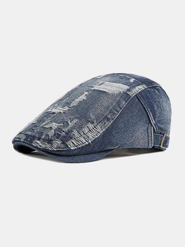 Men Denim Washed Made-old Damaged Vintage Forward Hat Flat Cap