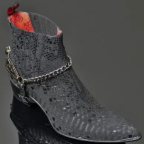 Customized Men's Short Boots with Leather Difference Gunner Straight Stab