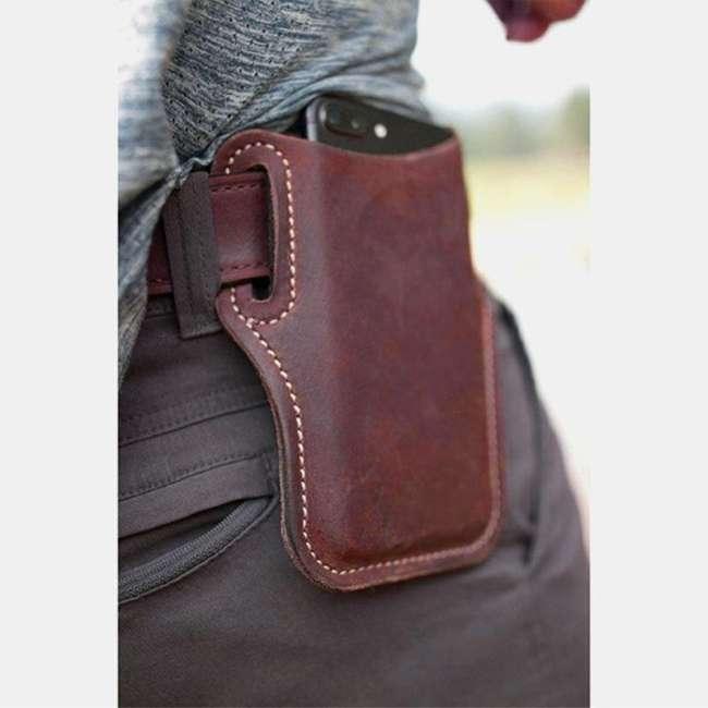 Men Genuine Leather 7.2 Inch EDC Retro Short Cell Phone Case Belt Bag