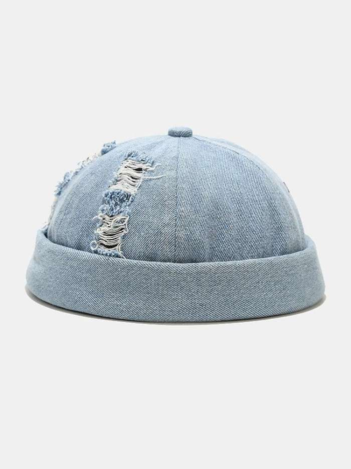 Unisex Denim Broken Holes Made-old Fashion Outdoor Brimless Beanie Landlord Cap Skull Cap