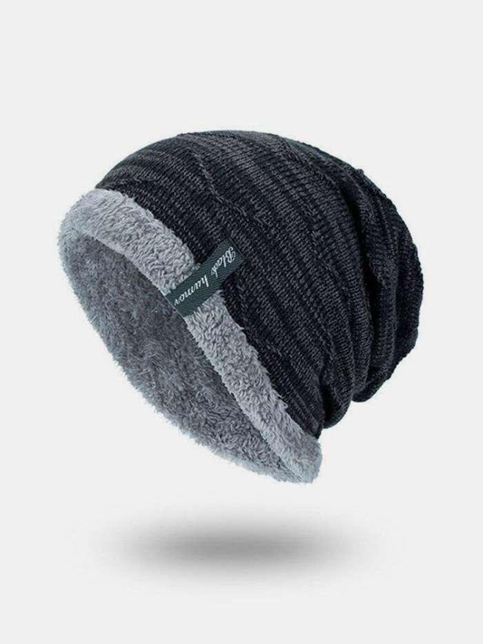 Mens Solid Color Stripe Knit Plus Velvet Fashion Beanie Hats For Men Outdoor Keep Warm Caps