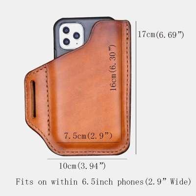 Men EDC Genuine Leather Retro 6.3 Inch Phone Bag