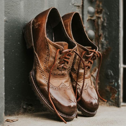 Comfortable Lace-up Square-heel Low-heel Men's Leather Shoes