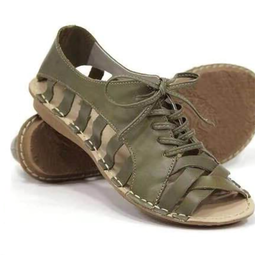 Lace-Up Flat Casual Sandals