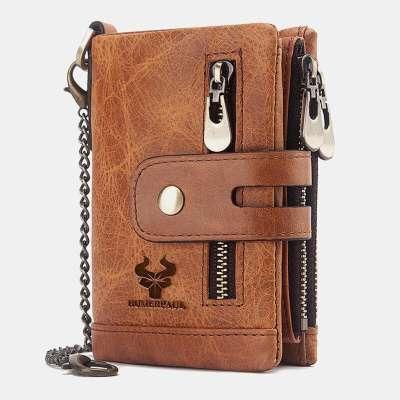 Men Genuine Leather RFID Wallet Card Holder