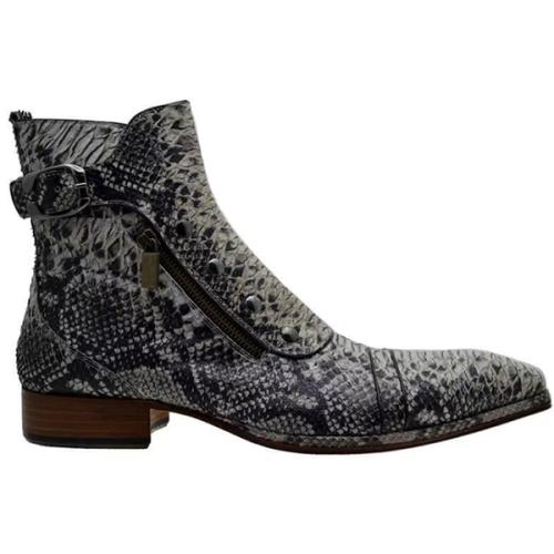New Fashion Snake Print Low-Heel Men's Boots