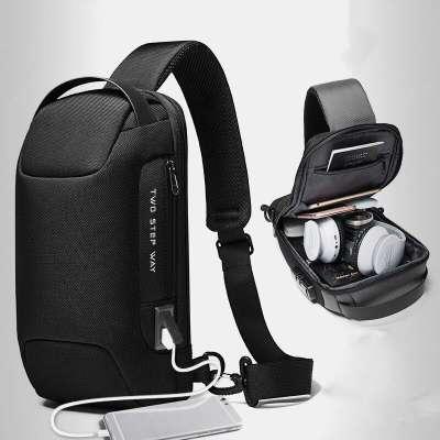 Men Oxford USB Charging Multi-Layers Waterproof Outdoor Crossbody Bag Chest Bag Sling Bag