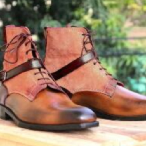 New Spring and Autumn Belt Buckle Short Boots Men's Boots