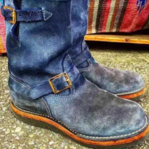 Men's Belt Buckle Mid-boots Blue Suede Men's Boots