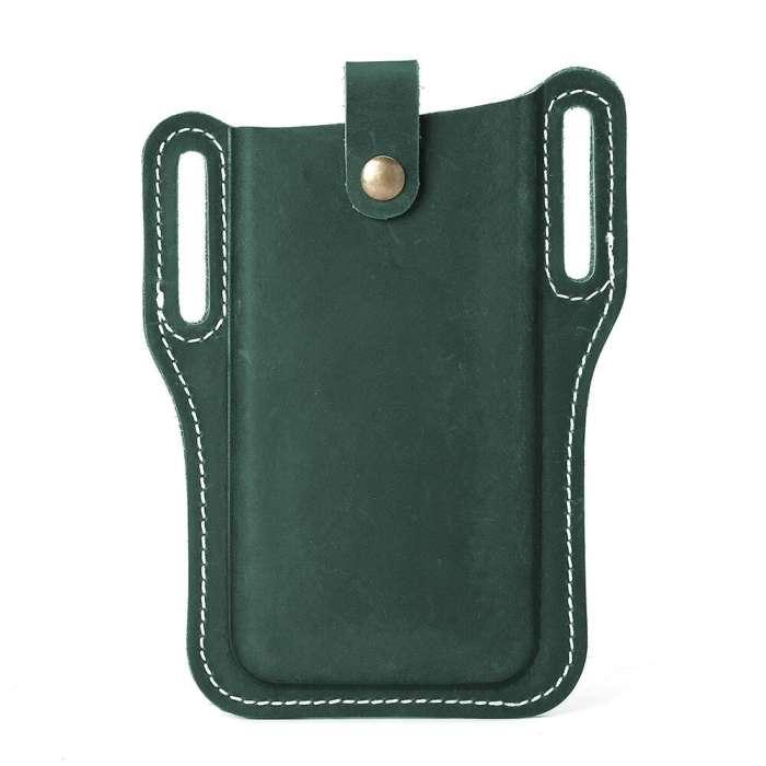 Men EDC Genuine Leather 6.3 Inch Retro Short Cell Phone Case Belt Bag