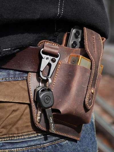 Men EDC Genuine Leather Keychain Holder 6.5 Inch Phone Bag Waist Bag Wallet