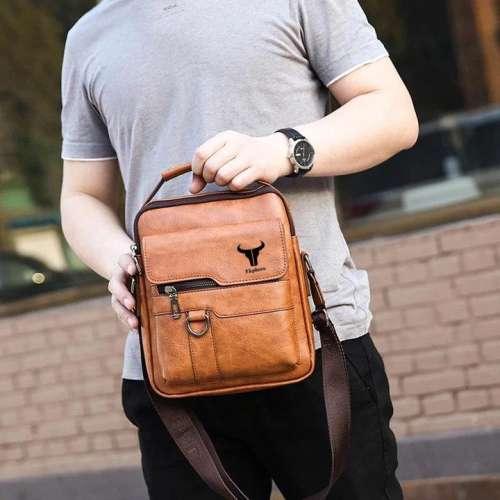 Men Multi-Carry PU Leather Solid Business Anti Theft Shoulder Bag Crossbody Bag