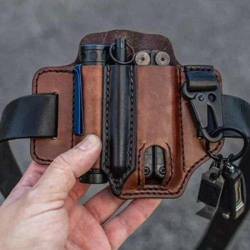 Genuine Leather EDC Belt Loop Waist Multitool Sheath