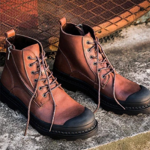 Men's Boots High-top Desert Tooling Leather Boots