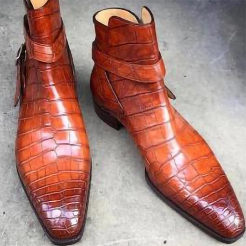 New Style Crocodile Texture Men's Short Boots
