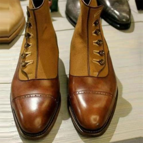 Flat Bottom Slope with Pointed Toe Combination with Buttons Casual Men's Short Boots