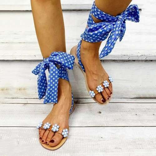 Casual Flower Bow Lace-Up Sandals