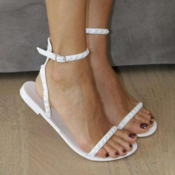 Lightweight Flat Skinny Strappy Jelly Sandals