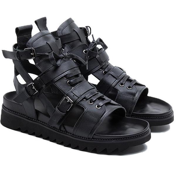 New Black Strappy Men's Sandals