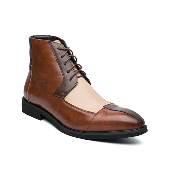 Stitching Leather Boots Men's Fashion Catwalk High-top Derby Boots