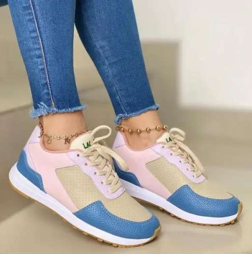Women's Fashion Leather Lace-Up Sneakers