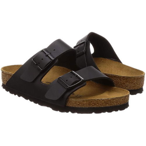 Men's Leather Midsole Double Buckle Cork Sandals