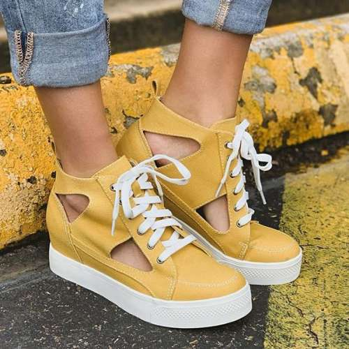 Fashion Hollow Lace-Up Canvas Platform Casual Sneakers