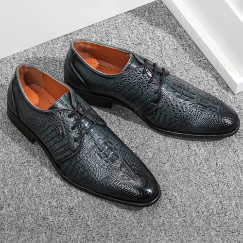 Men's Business Casual Lace-up Crocodile Leather Derby Shoes