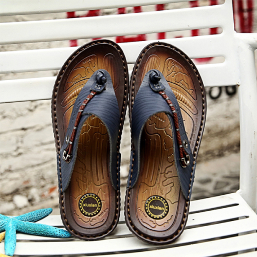 Men's Casual Beach Leather Slippers