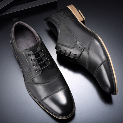 Men's Round Toe Business Formal Wear Casual Leather Shoes