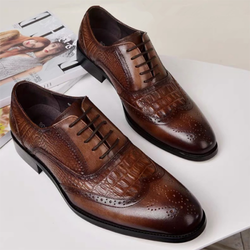 Men's Pattern Fashion Business Casual Leather Shoes