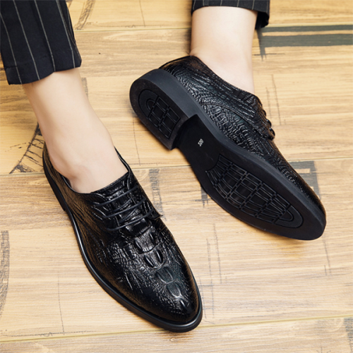 Pointed Toe Lace-up Crocodile Pattern Business Formal Casual Leather Shoes
