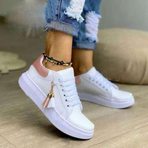 Women's Lace-up Closed Toe Fabric Leatherette Flat Heel Sneakers