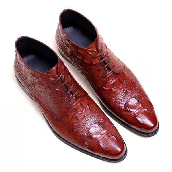 Men's Crocodile Texture Business Formal Wear Casual Leather Shoes