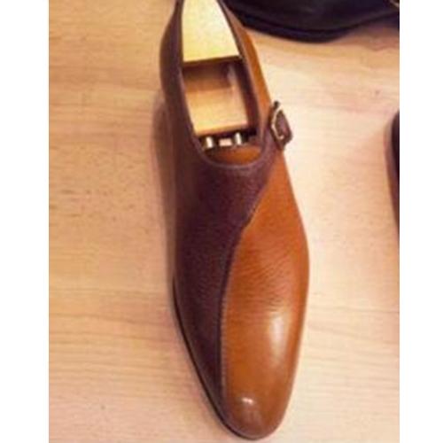 Colorblock Belt Buckle Flat Men's Shoes Pointed Toe Shoes
