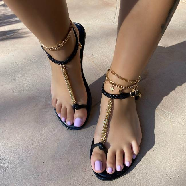Toe Ring Chain Scrunchie Ankle Closure Sandals