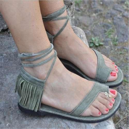Women's Lace-up Tassel Round Toe Flip-Flops Flat Heel Sandals