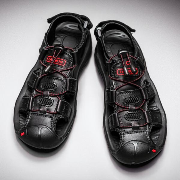 Men's Cowhide Toe Cap Beach Shoes Soft Sole Outdoor Leisure Sandals