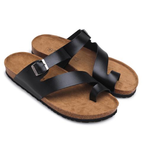 Men's Leather Midsole Cork Sandals