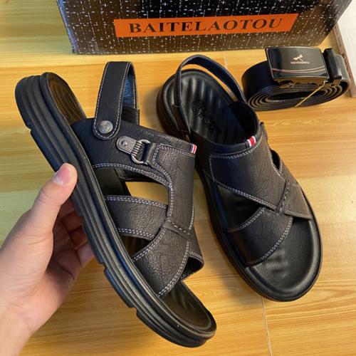 2021 Summer New Soft Bottom Breathable Leather Men's Sandals