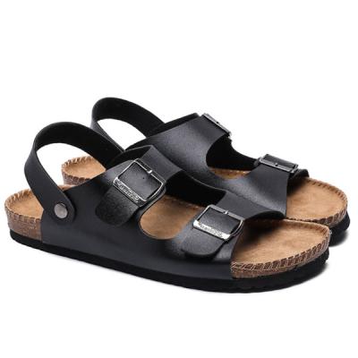 Men's  Fashion Leather Midsole Cork Sandals