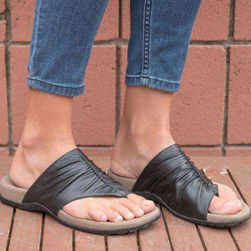 Women Casual Daily Pu Ruched Flat Sandals Slippers
