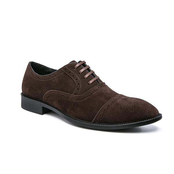 Men's Suede Brogue Point Toe Shoes