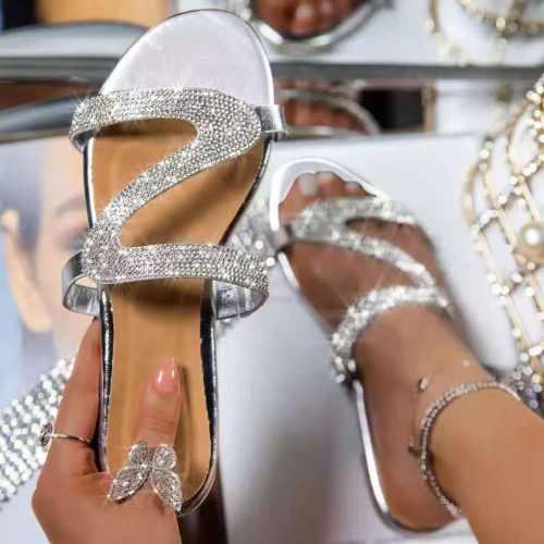 Sandals Female Derma Flat Heels Flat Heels Rhinestone