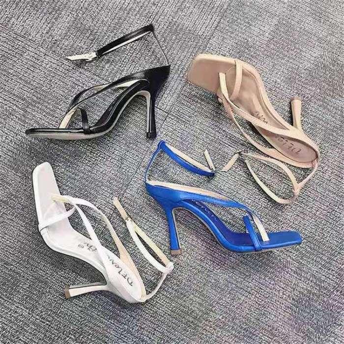Women's Buckle Square Toe Heels Kitten Heel Sandals