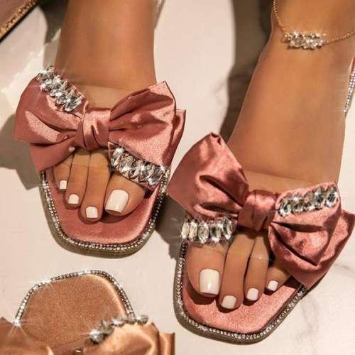 Women's Faux-Satin Bow Slip-On Flat Slippers