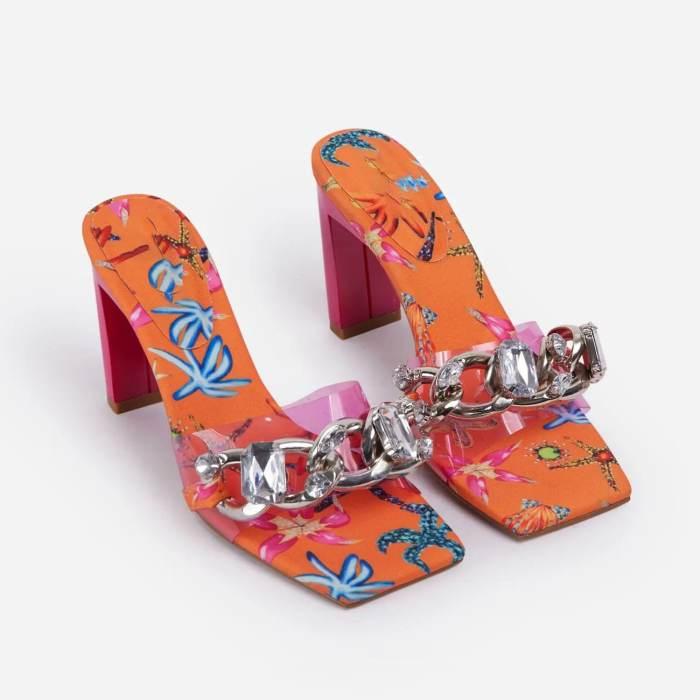 Chains Decoration Bandage Heeled Sandals