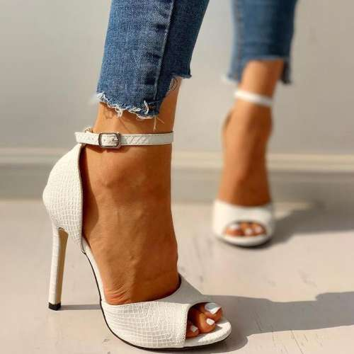 Fish Mouth Stiletto Heel Buckle Ladies Sexy Open Toe Sandals